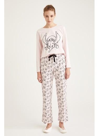 Defacto –Fit Baskılı Pijama Takımı Gri